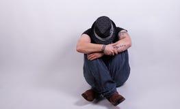 Smutna i straszna osoba Zdjęcia Royalty Free