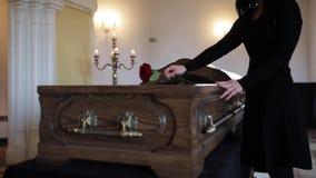 Smutna kobiety kładzenia czerwieni róża w trumnę przy pogrzebem zdjęcie wideo