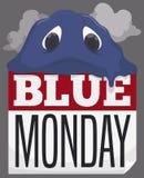 Smutna kropla Topi nad liścia kalendarzem podczas Blue Monday, Wektorowa ilustracja royalty ilustracja