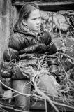 Smutna lub gniewna młoda dziewczyna Obrazy Royalty Free
