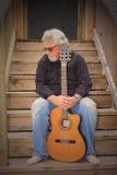Smutna mężczyzna gitara Obrazy Royalty Free