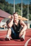 Smutna męska atleta Zdjęcia Stock