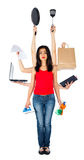 Smutna Multitasking kobieta Zdjęcia Stock