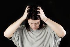 Smutna nadużywająca kobieta Fotografia Royalty Free
