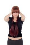 Smutna nastoletnia dziewczyna ubierał w czerni z przebijaniem Obraz Royalty Free