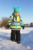 Smutna płacz chłopiec w zimie outdoors obrazy stock