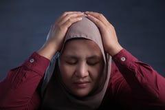 Smutna Przygnębiona Muzułmańska kobieta fotografia stock