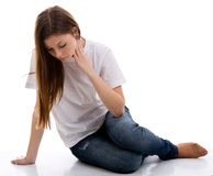 Smutna przygnębiona nastoletnia dziewczyna Zdjęcia Stock