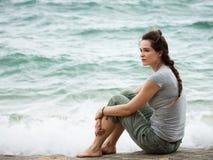 Smutna rozważna kobieta obraz royalty free