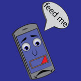 Smutna telefon komórkowy bateria 25% royalty ilustracja