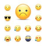 Smutnej, zmartwionej kreskówki emoji twarzy wektorowy set, Obrazy Royalty Free