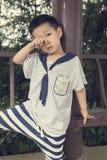 Smutni chłopiec pocierania oczy Obraz Royalty Free