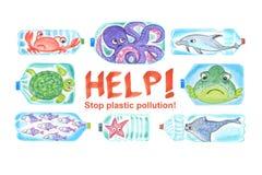 Smutni denni zwierzęta w plastikowych butelkach są nieszczęśliwi z oceanu zanieczyszczeniem royalty ilustracja