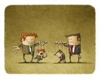 Smutni i szczęśliwi biznesmeni z wiszącymi kukłami royalty ilustracja
