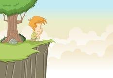 Kreskówki chłopiec główkowanie Zdjęcie Royalty Free