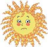 Smutny żółty słońce z kędziorami wyraża emocję ansa i smucenie, rozczarowanie royalty ilustracja