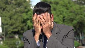 Smutny Beznadziejny Latynoski Biznesowy mężczyzna zbiory wideo