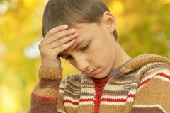 smutny chłopiec portret Fotografia Royalty Free