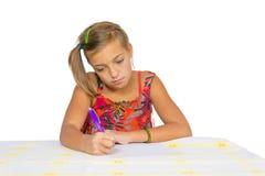 Smutny chilr robi pracie domowej Zdjęcie Stock