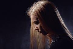 Smutny dziewczyna profil Fotografia Stock