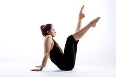 Smutny gimnastyczki obsiadanie obrazy stock