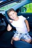 Smutny kierowca w samochodzie zdjęcie royalty free