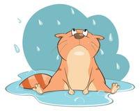 Smutny kot w deszczu tła postać z kreskówki zuchwałych ślicznych psów szczęśliwa głowa odizolowywał uśmiechu biel ilustracja Obrazy Royalty Free