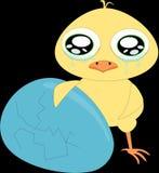 Smutny kreskówka kurczak z błękitnym łamającym jajkiem (1) royalty ilustracja