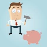 Smutny kreskówka mężczyzna z prosiątko bankiem Fotografia Stock
