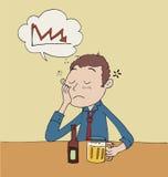 Smutny mężczyzna napoju piwo Zdjęcie Stock