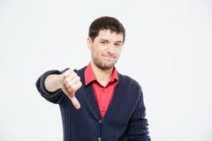 Smutny mężczyzna pokazuje kciuka puszek Obrazy Stock
