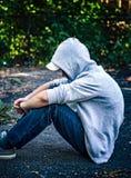 Smutny nastolatek Plenerowy obrazy royalty free
