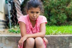 Smutny nieszczęśliwy gypsy dziecko Obrazy Royalty Free