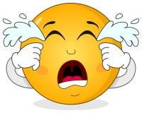 Smutny płaczu Smiley Emoticon charakter Obrazy Stock