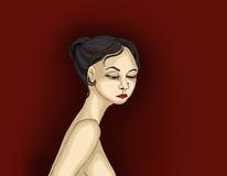 Smutny piękny dziewczyna płacz i patrzeć w dół Portret kobiety ilustracja wektor