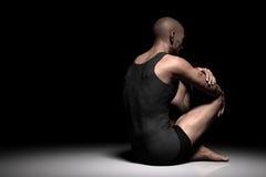Smutny, przygnębiony mężczyzna siedzi samotnie na podłoga w ciemnym świetle reflektorów, Depresja, ból ilustracja wektor