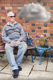 Smutny przygnębiony stary człowiek Fotografia Royalty Free