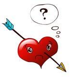 Smutny serce Z strzała Przez go Zdjęcie Stock