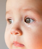 Smutny twarzy dziecko Łza na twarzy Obrazy Royalty Free