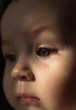 Smutny twarzy dziecko Łza na twarzy Obraz Royalty Free
