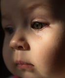 Smutny twarzy dziecko Łza na twarzy Fotografia Royalty Free