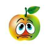 Smutny zielony jabłko, karykatura na białym tle Obrazy Royalty Free