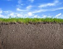 Smutsa jordnings-, gräs- och himmelnaturbakgrund royaltyfri fotografi