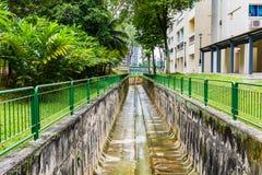 Smutsa ner den konkreta dräneringkanalen, bevattningdike i stadspersna Royaltyfri Fotografi