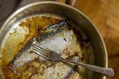 Smutsa ner den odiskade pannan, når du har lagat mat fisken Arkivfoto
