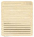 Smutsa ner det gamla gulna pappers- kortet för det tomma indexet som isoleras på vit Royaltyfria Foton