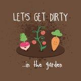 Smutsa ner trädgårds- tomater för moroten för den Kawaii gulliga grönsakrovan Royaltyfria Bilder