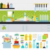 Smutsa ner vasken med kitchenware Arkivfoto