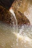 Smutsa ner vatten till floden på industriellt från ett rör Royaltyfria Bilder