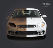 Smutsig bilreparation för rost före och efter Arkivfoto